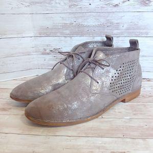 H. S. Trask perforated metallic grey booties